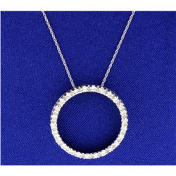1/2 ct TW Diamond Circle Pendant with chain