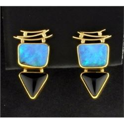 Opal and Onyx Earrings
