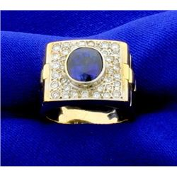 Men's 18k Sapphire and Diamond Ring