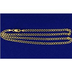 Italian Made 18 1/4 Inch Cuban Flat Link Chain