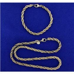 Heavy Rope Style Neck Chain and Bracelet Set