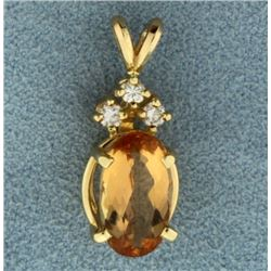 3ct Citrine and Diamond Pendant