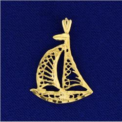 Gold Sailboat Pendant