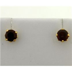 Garnet Stud Earrings in 18k Gold Settings