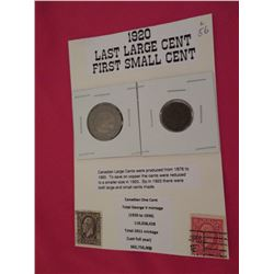 1920 Last year for Canadian large cents and first year for the small cent both coin on display card