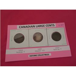 Canadian large cents 1915, 1907, 1919