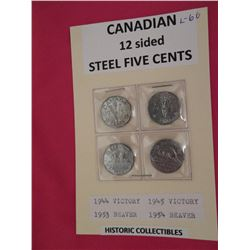 12 sided steel 5 cents -1944, 1945, 1953 and 1954