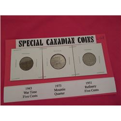 Seldom seen Canadian coins 1943 Victory 5 cents, 1973 Mounties centennial 25 cents and 1951 refinery
