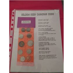 Ten seldom seen Canadian coins large cent, 50 cents piece 1943 Brown Victory 5 cents, George V etc.