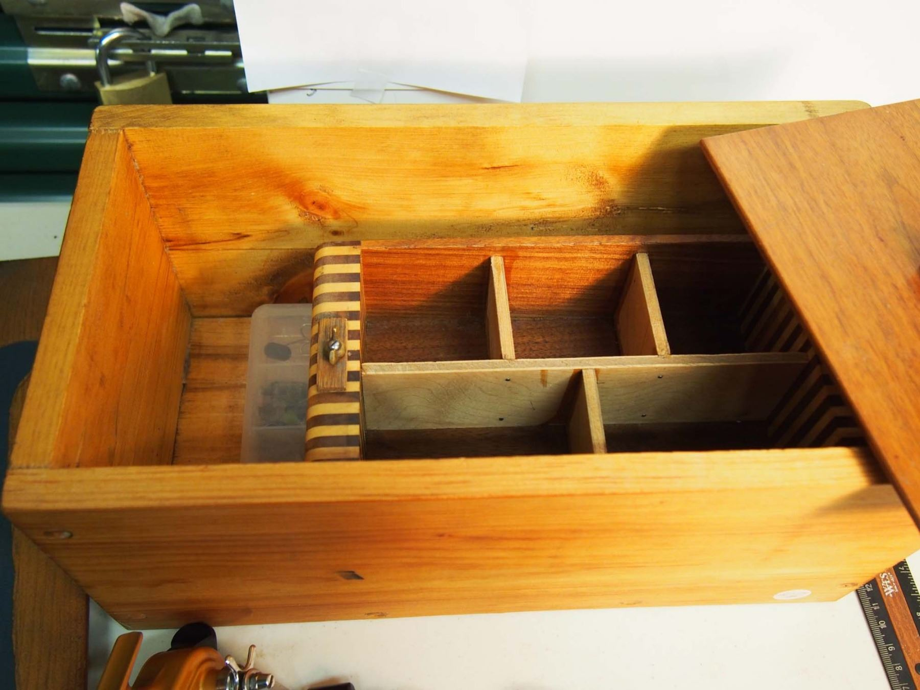 Wood Fishing Box With Tackle Collection And Reel