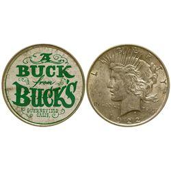 """""""A Buck for Buck's"""" Silver Dollar Ticker Token Guerneville California"""