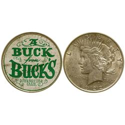 """A Buck for Buck's"" Silver Dollar Ticker Token Guerneville California"