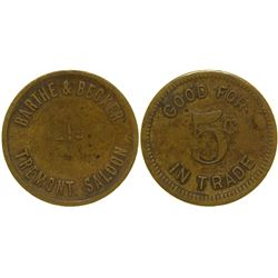 Tremont Saloon Token Marysville California
