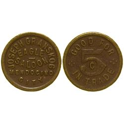 Mendocino City Saloon Token; Eagle Saloon