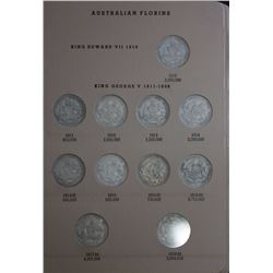 Australia Florin set 1910 to 1963, includes 1932, in dansco supreme album