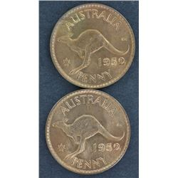 Australia 1952 Pennies, Full red Unc (ex Hagley ) 2 coins