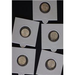 Australia 3 Pence 1948,1949,1950,1951M,1951PL< 1952 Gem Unc Ex Wilson
