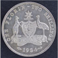 1934 Florin Prooflike Unc, Obverse contact mark