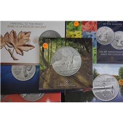 Canada $20 coins commems UN, 2011, 2012, 2012 XMAS, Penny, 2013 Wolf