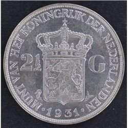 Netherlands 21/2 Guilder 1931 Choice Unc