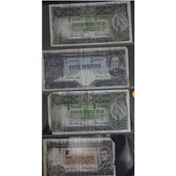 5 Pounds QE11, 10 Shillings, 1 Pound (2) rough