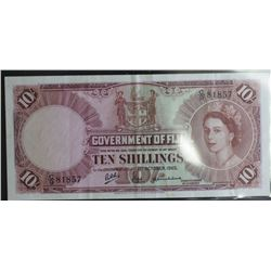 Fiji 10 Shillings QE 11 Good EF