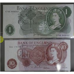 Bank of England 10 Shilling and 1 Pound Unc