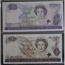 NZ $1 & $2 Unc