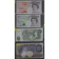 Bank of England 1 Pound (2) 5 pounds and 10 Pounds Unc