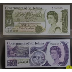 St Helena 50 p & & 1 pounds