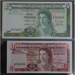 Gibraltar 1 pound & 5 Pounds