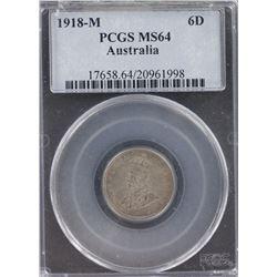 1918 Sixpence PCGS MS 64