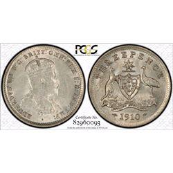 1910 Threepence PCGS AU 58