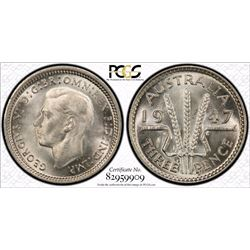 1947 Threepence PCGS MS 65