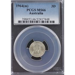 1964 Threepence PCGS MS 66