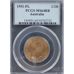 1951 PL Halfpenny PCGS MS 64 Red Brown