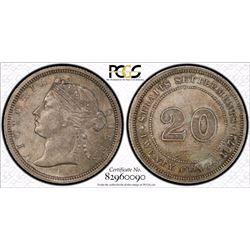 Straits Settlements 20c 1872 H PCGS AU 58