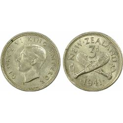 New Zealand Threepence 1941 MS63