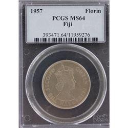 Fiji Florin 1957 PCGS MS 64