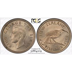New Zealand Sixpence 1952 PCGS MS 64