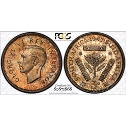 South Africa 1947 3 Pence PCGS PR 65