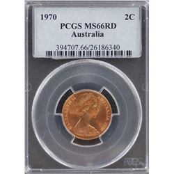 Australia 2c 1970 PCGS MS 66 Red