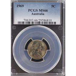 Australia 5c 1969 PCGS MS 66