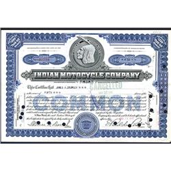 Indian Motorcycle Co., 1930 Stock Certificate.