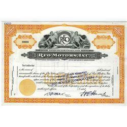 Reo Motors, Inc. 19xx, ca.1920-30's  Specimen Stock certificate.