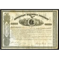 American Express Company, 1863 Stock Certificate With Wells, Fargo & Holland Signatures.