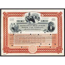 Manhattan High Power Motor Car Co., ca.1900-1910 Specimen Stock Certificate
