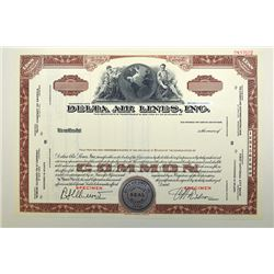Delta Air Lines, Inc. ND ca.1950-60's Specimen Stock Certificate..