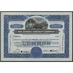 Cessna Aircraft Co., ca.1930-1940 Specimen Stock Certificate
