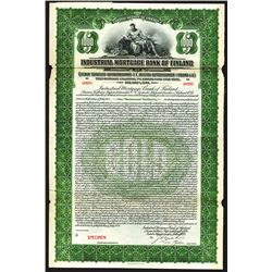 Industrial Mortgage Bank of Finland 1924 Specimen Bond.